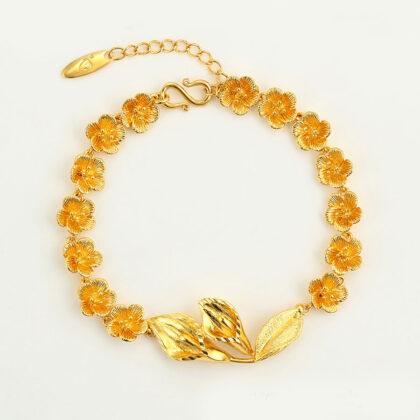 Bratara eleganta floricele placata aur fata