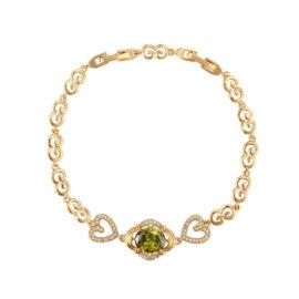 Bratara inimioare cristal verde placata aur