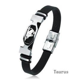 Bratara piele neagra zodia Taur
