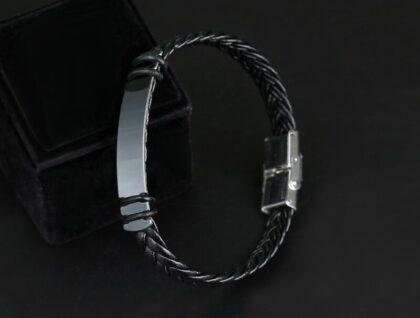 Bratara piele stainless steel neagra fata