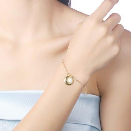 Bratara placata aur pandantiv luna model