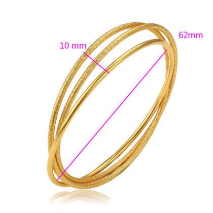 Bratara rigida cercuri placata aur 24K detalii