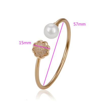 Bratara rigida perla si cristale placata aur detalii