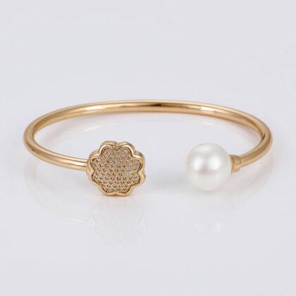Bratara rigida perla si cristale placata aur sus