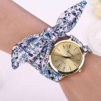 Ceas alb Geneva imprimeu floral albastru