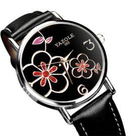 Ceas dama negru cu floricele pe cadran