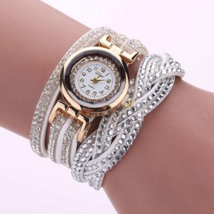 Ceas de mana argintiu cu cristale Duoya