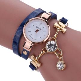 Ceas de mana cu bratara albastra si cristale Carude