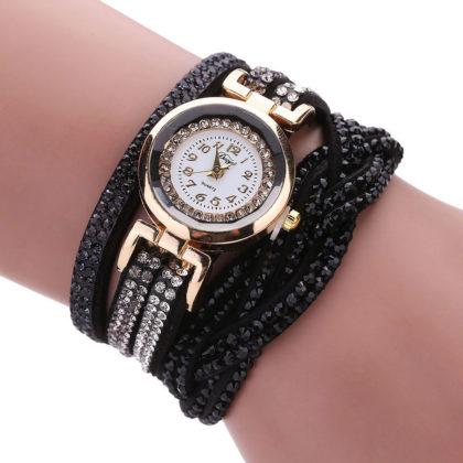 Ceas de mana negru cu cristale Duoya