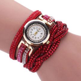 Ceas de mana rosu cu cristale Duoya