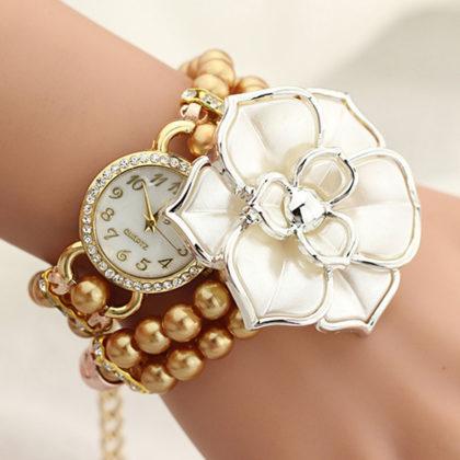 Ceas elegant cu floricica si bratara din perle cafenii
