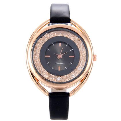 Ceas elegant negru cu cristale