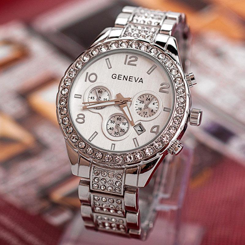 Ceas Geneva argintiu cu cristale