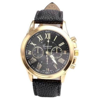 Ceas Geneva negru cadran auriu