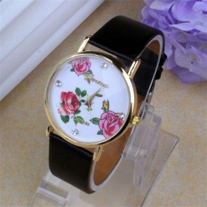 Ceas Geneva negru cu imprimeu floral