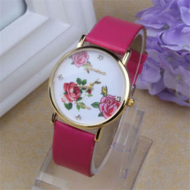 Ceas Geneva roz cu imprimeu floral