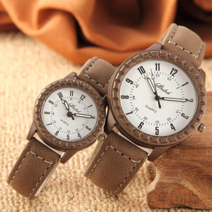 Ceasuri cuplu maro cadran alb