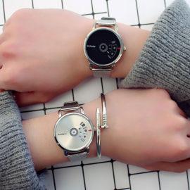 Ceasuri metalice cuplu cadran argintiu si negru