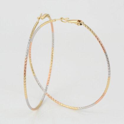 Cercei cercuri placati aur multicolor fata