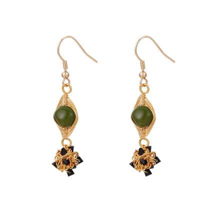 Cercei cristale verzi placati aur