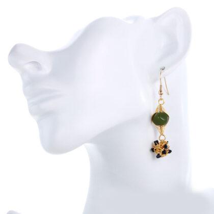 Cercei cristale verzi placati aur model