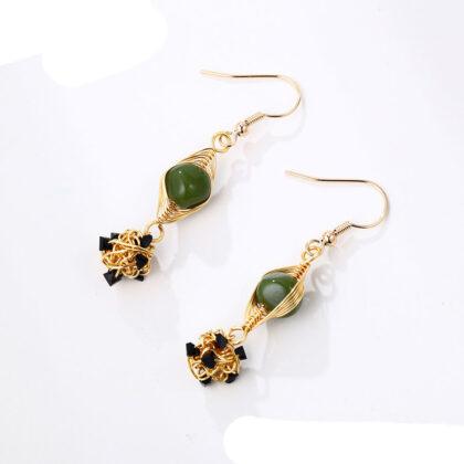 Cercei cristale verzi placati aur sus