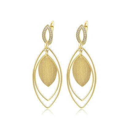 Cercei dama cristale transparente placati aur