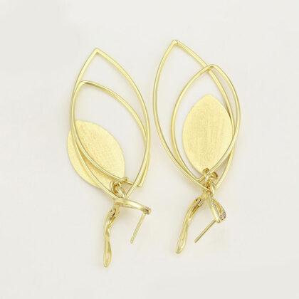 Cercei dama cristale transparente placati aur sus