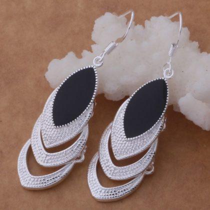 Cercei eleganti argint cristal negru Sara