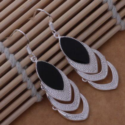 Cercei eleganti argint cristal negru Sara sus