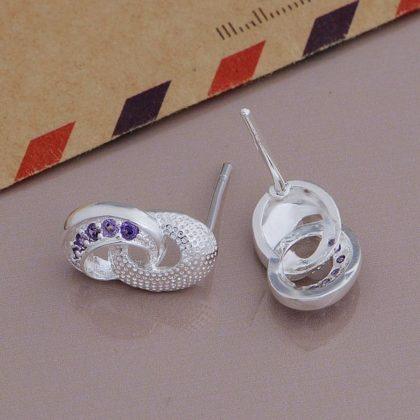 Cercei eleganti argint cristale mov Sara profil