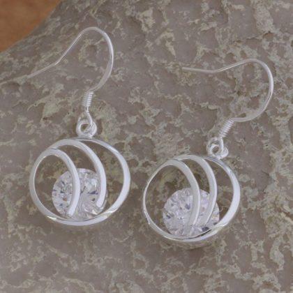 Cercei eleganti argint cu cristale Sara sus