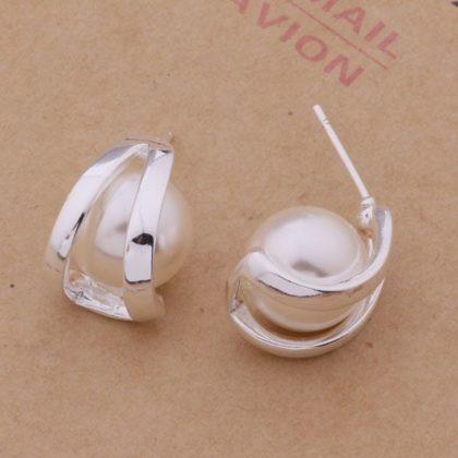 Cercei eleganti argint cu perle Sara sus