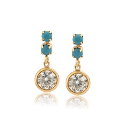 Cercei eleganti cristale placati aur