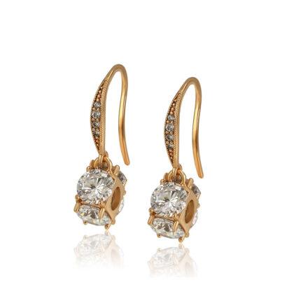 Cercei eleganti cristale placati aur 18K