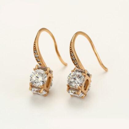 Cercei eleganti cristale placati aur 18K fata