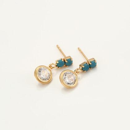 Cercei eleganti cristale placati aur sus