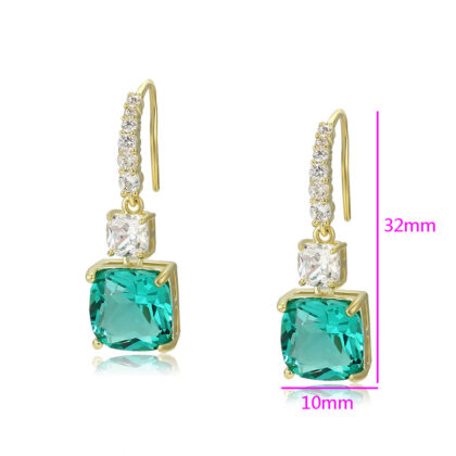 Cercei eleganti cristale verzi placati aur detalii