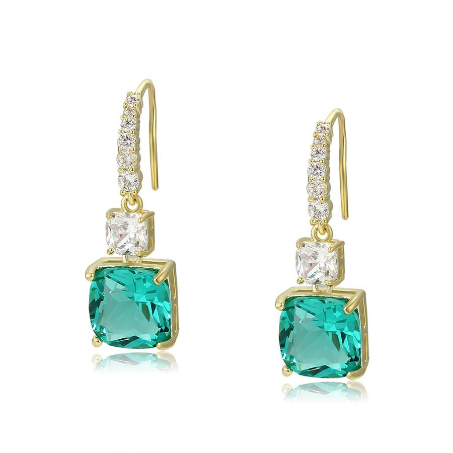 Cercei eleganti cristale verzi placati aur