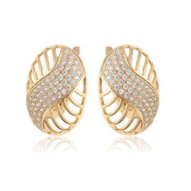 Cercei eleganti lati placati aur cristale zirconiu