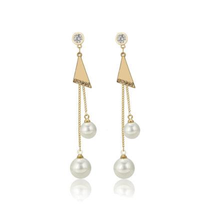 Cercei eleganti perla placati aur 24k
