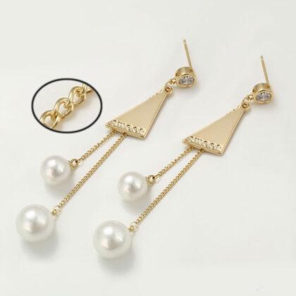 Cercei eleganti perla placati aur 24k sus