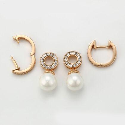 Cercei eleganti perla placati aur sus