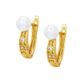 Cercei eleganti placati aur cu perle