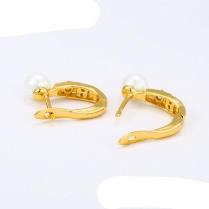 Cercei eleganti placati aur cu perle sus