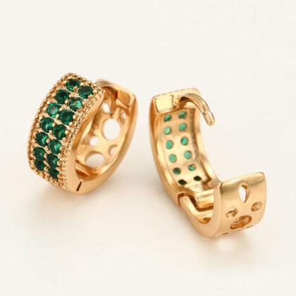 Cercei eleganti placati aur pietricele turcoaz profil
