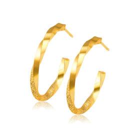 Cercei eleganti rotunzi placati aur