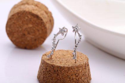 Cercei floricele argint 925 cristale zirconiu fata