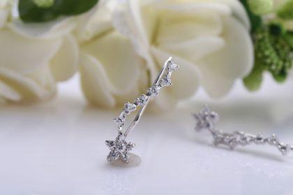 Cercei floricele argint 925 cristale zirconiu profil