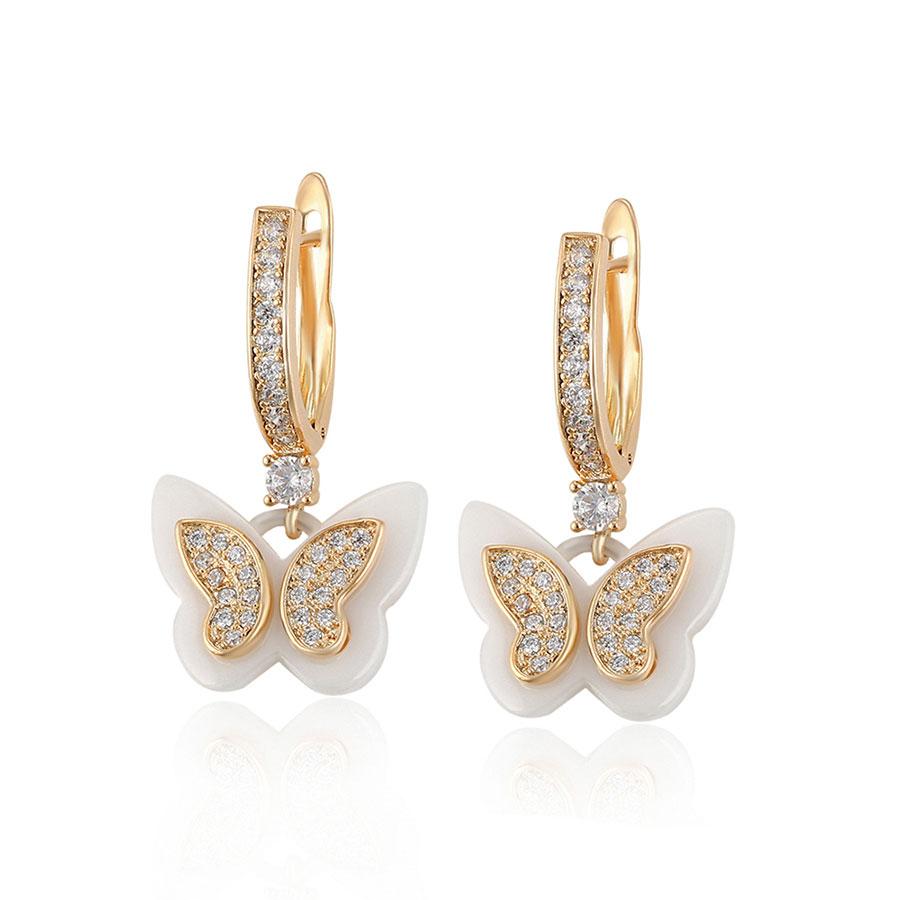 Cercei fluturasi cristale placati aur
